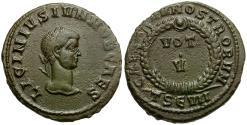 Ancient Coins - Licinius II Caesar Æ3 / Votive Wreath