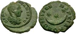 Ancient Coins - Diadumenian (AD 218). Moesia Inferior. Markianopolis Æ17 / Crescent and Stars
