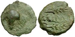 Ancient Coins - Iberia. Acinipo Æ Semis / Grapes