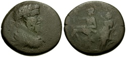 Ancient Coins - Septimius Severus, Macedon, Edessa Æ26 / Roma Crowned by Tyche