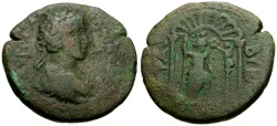 Ancient Coins - Caracalla, Phoenicia, Byblos Æ27 / Astarte in Archway