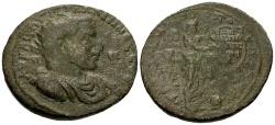 Ancient Coins - Gallienus, Cilicia Tarsos Æ33 / Nike inscribing Shield