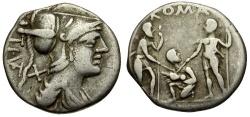 Ancient Coins - 137 BC - Roman Republic. T. I. Veturius AR Denarius / Oath Scene
