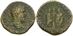 Ancient Coins - Septimius Severus (AD 193-211) Æ Sestertius / Septimius, Caracalla and Geta Sacrificing