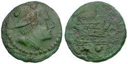 Ancient Coins - 211-208 BC - Roman Republic Æ Sextans / Staff & Club