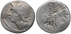 Ancient Coins - 104 BC - Roman Republic. C. Coelius Caldus AR Denarius / Brockage