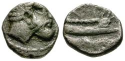 Ancient Coins - gF+/gF+ Phoenicia, Arados AR Obol / Marine Deity / Galley