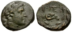 Ancient Coins - Achaia.  Pellene Æ Dichalkon / Ram's Head in Wreath
