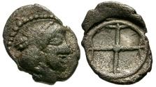 Ancient Coins - aVF/aVF Sicily, Syracuse AR Litra / Arethusa / Wheel