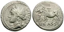 Ancient Coins - 102 BC - Roman Republic.  L. Cassius Caecianus AR Denarius / Oxen Ploughing