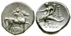 Ancient Coins - Calabria. Tarentum. Herakletos, magistrate AR Stater / Taras Riding Dolphin