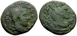 Ancient Coins - Macrinus, Mesopotamia Edessa Æ20 / Bust of Tyche