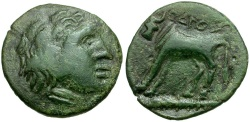 Ancient Coins - Thraco-Macedonian Tribes. Odrysai Æ16 / Bull on Club
