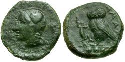 Ancient Coins - Sicily. Kamarina Æ Tetras / Owl with Lizard