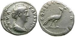 Ancient Coins - Diva Faustina I (died AD 141) AR Denarius / Peacock