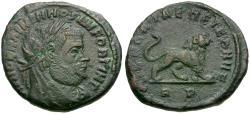 Ancient Coins - Divo Maximian (died AD 310) Commemorative Æ4 / Lion