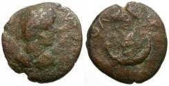 Ancient Coins - Caracalla. Mesopotamia. Carrhae Æ19 / Star and Crescent