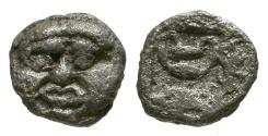 Ancient Coins - aVF/F Thraco-Macedonian Region, Uncertain mint AR Hemiobol / Gorgon / Kantharos
