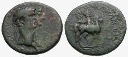 Ancient Coins - Claudius & Agrippina Junior. Lydia. Mostene Æ21 / Hero on Horseback