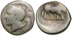 Ancient Coins - Campania. Hyria AR Didrachm / Man-headed Bull