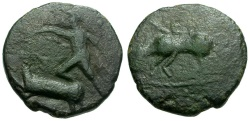 Ancient Coins - Tauric Chersonesos.  Chersonesos Imitative Æ17 / Artemis Spearing Stag / Bull