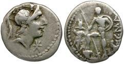 Ancient Coins - 96 BC - Roman Republic, AR Denarius of C. Malleolus / Soldier with Trophy