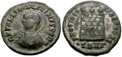 Ancient Coins - Licinius II (AD 317-324) Silvered Æ3 / Campgate