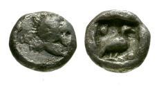 Ancient Coins - VF/VF Caria, Mylasa AR Tetartemorion / Lion / Bird