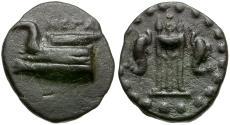 Ancient Coins - Megaris. Megara Æ Dichalkon / Tripod & Dolphins