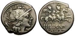 Ancient Coins - 147 BC - Roman Republic. L. Cupiennus AR Denarius / Dioscuri on Horseback