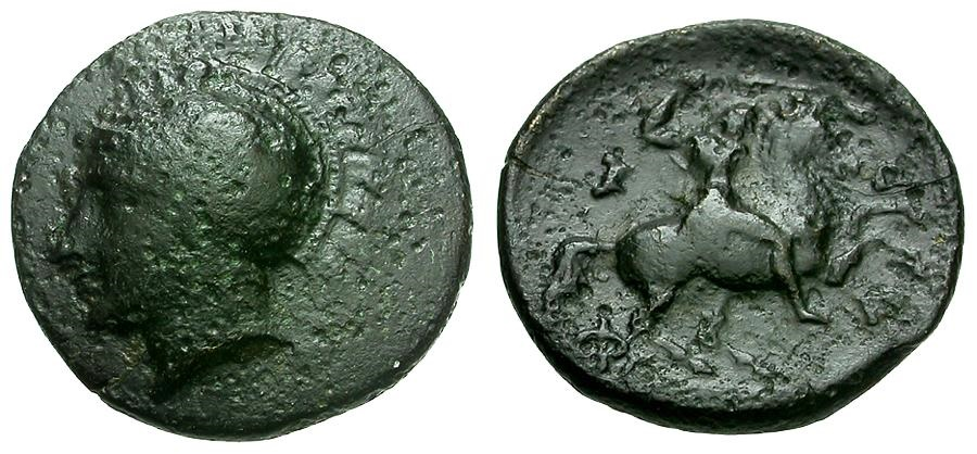 Ancient Coins - Thessaly.  Pharsalos Æ13 / Athena and Horseman