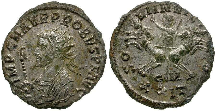 Ancient Coins - Probus (AD 276-282) Silvered Æ Antoninianus / Sol in Quadriga