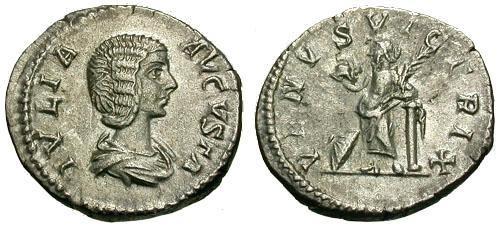 Ancient Coins - EF/VF Julia Domna AR Denarius / Venus