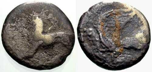 Ancient Coins - VG/VG AR Hemidrachm of Sikyon Peloponnesos / Chimaera & Dove