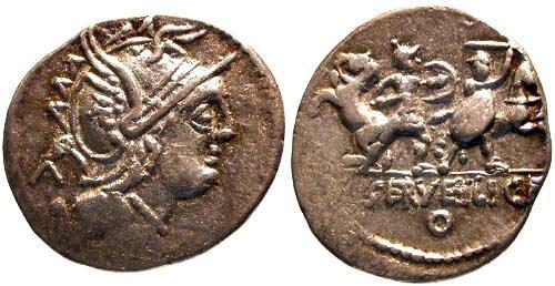 Ancient Coins - gF/aVF Servilia 13 Roman Republic Denarius / Roman and barbarian fighting