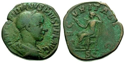 Ancient Coins - gF+/gF+ Gordian III AE Sestertius / Securitas