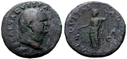 Ancient Coins - gF+/gF+ Vespasian AS / Aequitas
