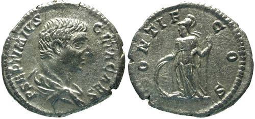 Ancient Coins - VF/VF Geta Denarius / Minerva