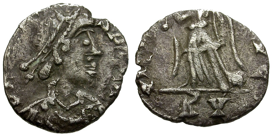 World Coins - Vandals in Carthage Pseudo-Ravenna mint. Struck in the Name of Honorius AR half Siliqua / Victory