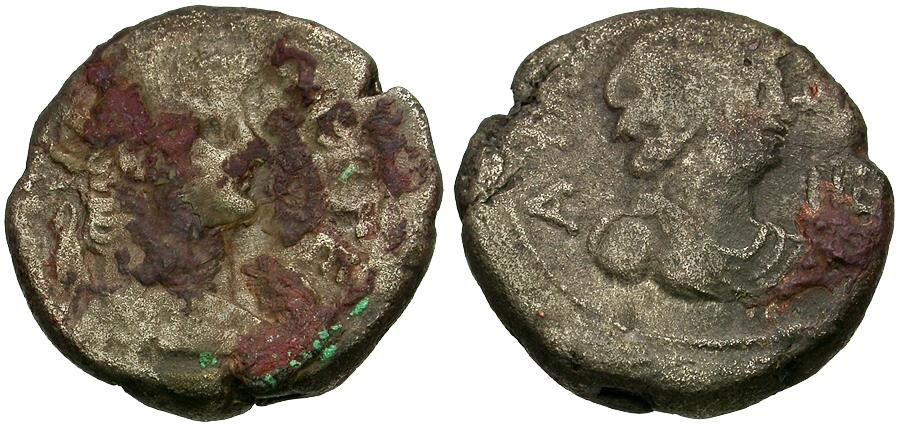 Ancient Coins - Nero (AD 54-68). Egypt. Alexandria Billon Tetradrachm / Bust of Alexandria