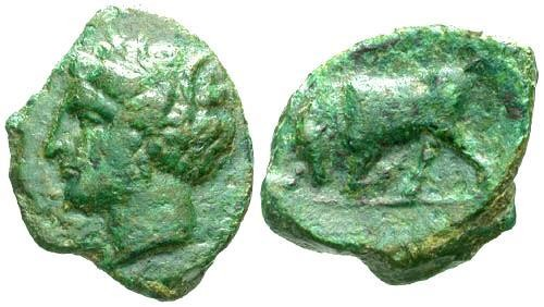 Ancient Coins - VF/VF Sicily Alontion AE23 / Bull