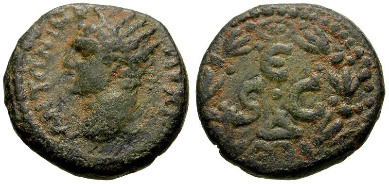 Ancient Coins - Caracalla, Syria, Seleucis and Pieria, Antioch Æ Semis / Wreath