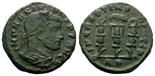 Ancient Coins - aVF Maximinus II Follis / Three Standards Surmounted by Hand, Eagle and Wreath