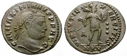 Ancient Coins - VF/VF Galerius AE Follis / Soldier standing