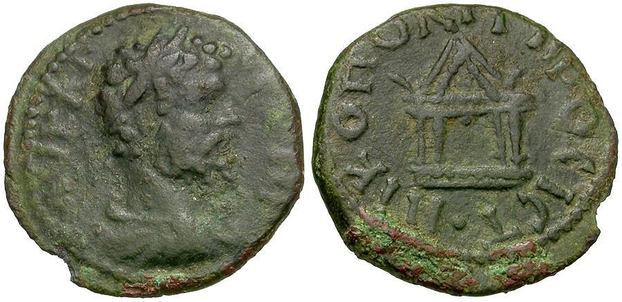 Ancient Coins - Septimius Severus (AD 193-211). Moesia. Nikopolis ad Istrum Æ17 / Temple