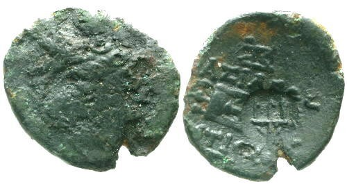 Ancient Coins - VG/VF Antiochus I Soter AE18 / Tripod and Trident Countermark