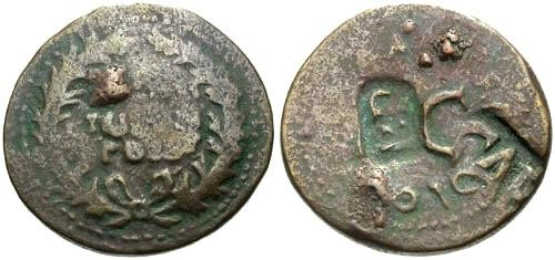 Ancient Coins - F/F Augustus Dupondius / Two Countermarks