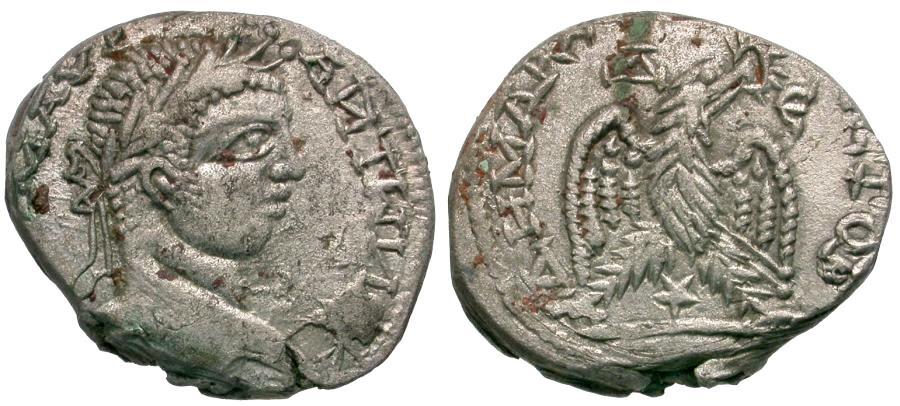 Ancient Coins - Elagabalus (AD 218-222). Seleucis and Pieria. Emesa Imitative AR Tetradrachm