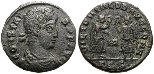 Ancient Coins - aVF AE3/4 of Constans / Two victories holding wreaths