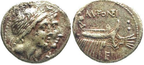 Ancient Coins - 108/7 BC / VF/VF Fonteia 8 Roman Republic Denarius / Galley